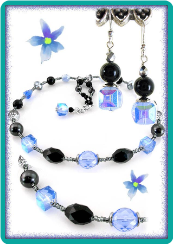 Light Blue, Silver-Gray, and Black Necklace