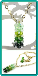 Green Crystal Rectangular Prism Pendant and Necklace