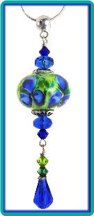 Sapphire and Lime Floral Lampwork Pendant