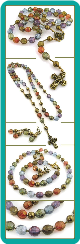 Multicolor Vintage Style Rosary Necklace Set