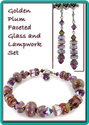 Golden Plum Faceted Glass and Lampwork Set