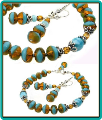 Turquoise and Amber Swirl Bracelet Set