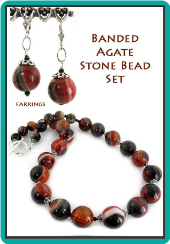 Banded Agate Stone Bead Set: Handmade Necklace, Bracelet, and Earrings