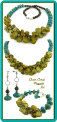 Green Coral Nuggets and Turquoise Magnesite Necklace Set