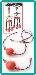 Coral Shell Pearl and Crystal Necklace