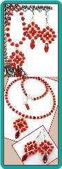 Red and Ivory Medallion Necklace and Earrings