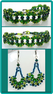 Emerald Waves Handmade Bracelet and Earrings