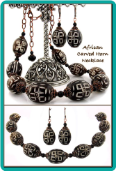 African Carved Horn Bead Handmade Necklace