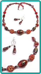Red Collage Necklace 18""