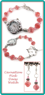 Carnation Pink Daisy Watch
