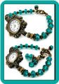 Ornate Brass Watch with Teal Crystals