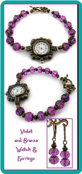Violet and Bronze Vintage-Look Watch & Earrings