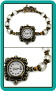 "Antique Brass Watch with Crystal ""Cathedral"" Beads"