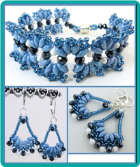 Blue Waves Hand Beaded Bracelet and Earrings
