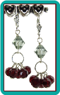 Garnet Baskets Crystal Earrings
