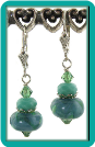 Blue Green and Turquoise Lampwork and Crystal Earrings