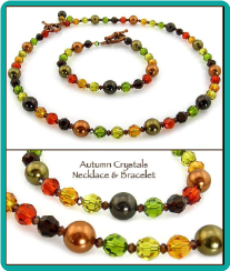 Autumn Crystals & Pearls Necklace & Bracelet