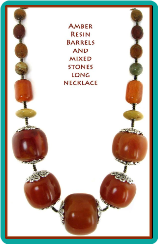 Amber Resin Barrels and Mixed Stones Long Necklace