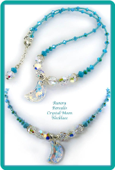 Aurora Borealis Crystal Moon Necklace