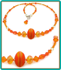 Orange Lampwork and Crystal Necklace