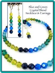 Blues and Greens Swarovski Crystal Necklace