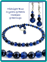 Midnight Blue Crystals & Pearls Necklace & Earrings