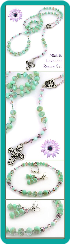 Mint and Lavender Crystal Rosary Necklace Set