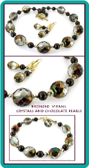 Bronzed Vitrail Crystal and Chocolate Pearl Necklace Set