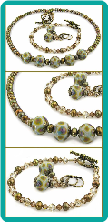 Bronzed Olive Pearl and Lampwork Bead Necklace