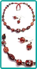 Red Collage Necklace 20""