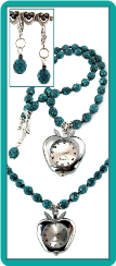 Apple Watch Necklace with Snakeskin Turquoise Beads